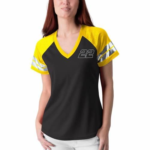 G-III 4HER BY CARL BANKS レディース フランチャイズ ラグラン ブイネック Tシャツ レディースファッション トップス カットソー 【 Joey Logano Womens Franchise Raglan V-neck T-shirt - Black/yellow 】 Black/ye