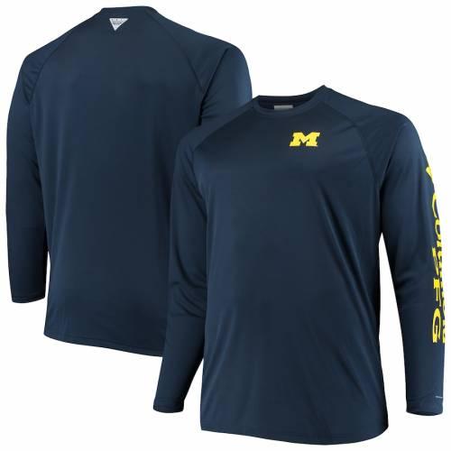 コロンビア COLUMBIA ミシガン スリーブ Tシャツ 紺 ネイビー メンズファッション トップス カットソー メンズ 【 Michigan Wolverines Big And Tall Terminal Tackle Long Sleeve Omni-shade T-shirt - Navy 】 Navy