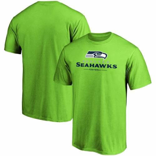 信頼 スポーツブランド カジュアル ファッション ファナティクス FANATICS BRANDED シアトル シーホークス チーム ロゴ Tシャツ カットソー メンズファッション トップス 100%品質保証 LOCKUP NEON グリーン GREEN LOGO TSHIRT 緑 TEAM