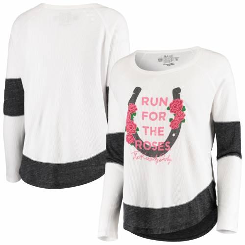 ORIGINAL RETRO BRAND ケンタッキー レディース ラン スリーブ Tシャツ レディースファッション トップス カットソー 【 Kentucky Derby Womens Run For The Roses Long Sleeve T-shirt - White/black 】 White/black