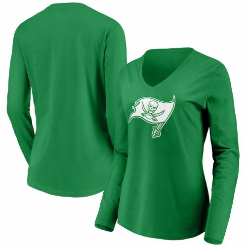 NFL PRO LINE BY FANATICS BRANDED バッカニアーズ レディース 白 ホワイト ロゴ スリーブ ブイネック Tシャツ 緑 グリーン St. レディースファッション トップス カットソー 【 Tampa Bay Buccaneers Wome