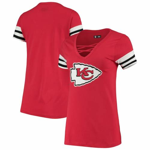 ニューエラ NEW ERA カンザス シティ チーフス レディース スリーブ ストライプ ブイネック Tシャツ 赤 レッド レディースファッション トップス カットソー 【 Kansas City Chiefs Womens Contrast