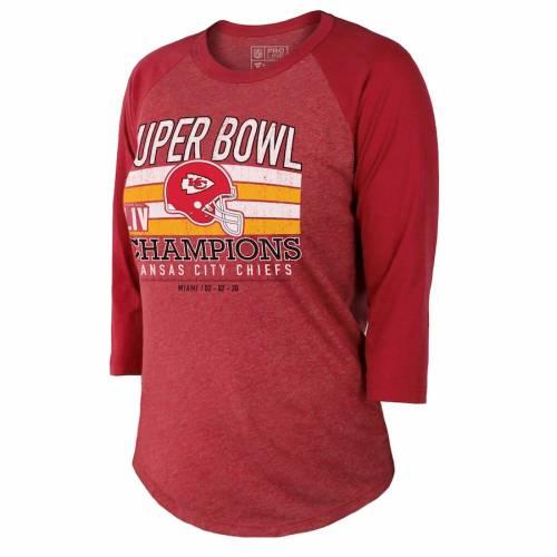 NFL PRO LINE BY FANATICS BRANDED カンザス シティ チーフス レディース ラグラン Tシャツ 赤 レッド レディースファッション トップス カットソー 【 Kansas City Chiefs Womens Super Bowl Liv Champions 3/4-sle