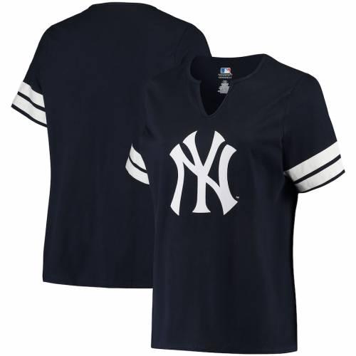 PROFILE ヤンキース レディース Tシャツ レディースファッション トップス カットソー 【 New York Yankees Womens Plus Size V-notch T-shirt - Navy/white 】 Navy/white