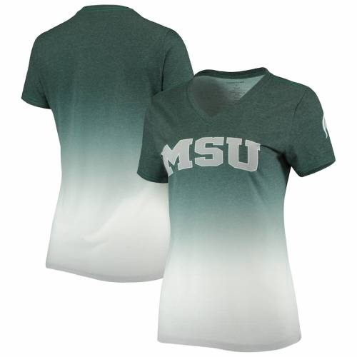 BOXERCRAFT ミシガン スケートボード レディース ブイネック Tシャツ 緑 グリーン レディースファッション トップス カットソー 【 Michigan State Spartans Womens Ombre V-neck T-shirt - Heathered Green 】 He