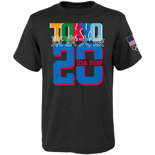 OUTERSTUFF サマー Tシャツ 黒 ブラック メンズファッション トップス カットソー メンズ 【 Usa Surfing 2020 Summer Olympics Road To Tokyo Hang 20 T-shirt - Black 】 Black