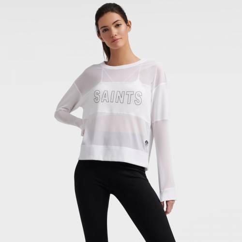 DKNY SPORT セインツ レディース スリーブ Tシャツ 白 ホワイト レディースファッション トップス カットソー 【 New Orleans Saints Womens Kaitland Tri-blend Long Sleeve T-shirt - White 】 White