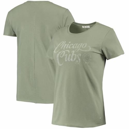 '47 シカゴ カブス レディース Tシャツ オリーブ レディースファッション トップス カットソー 【 Chicago Cubs Womens Whitney Letter T-shirt - Olive 】 Olive
