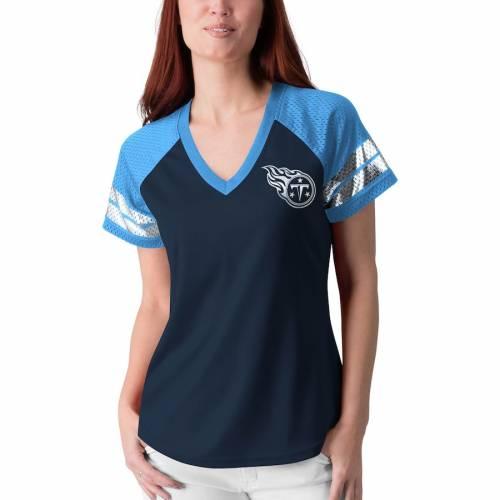 G-III 4HER BY CARL BANKS テネシー タイタンズ レディース フランチャイズ ラグラン Tシャツ 紺 ネイビー レディースファッション トップス カットソー 【 Tennessee Titans Womens Franchise Raglan T-shirt