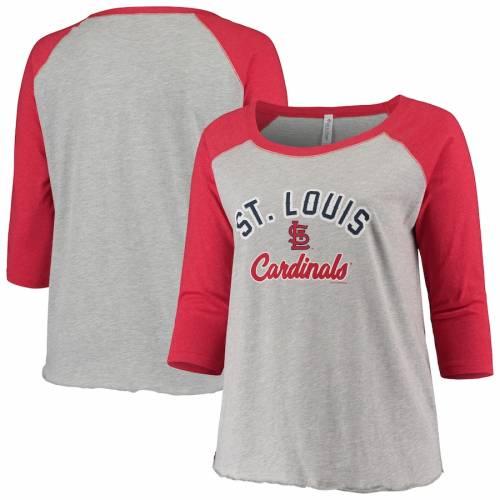 SOFT AS A GRAPE カーディナルス レディース ベースボール ラグラン Tシャツ St. レディースファッション トップス カットソー 【 St. Louis Cardinals Womens Plus Size Baseball Raglan 3/4-sleeve T-shirt - Heathe