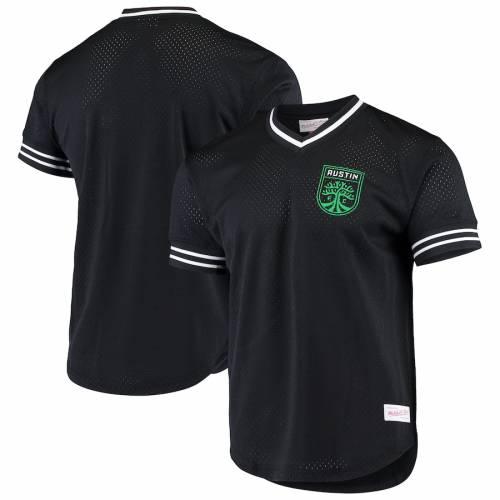 ミッチェル&ネス MITCHELL & NESS ブイネック Tシャツ 黒 ブラック & 【 BLACK MITCHELL NESS AUSTIN FC MESH VNECK TSHIRT 】 メンズファッション トップス Tシャツ カットソー