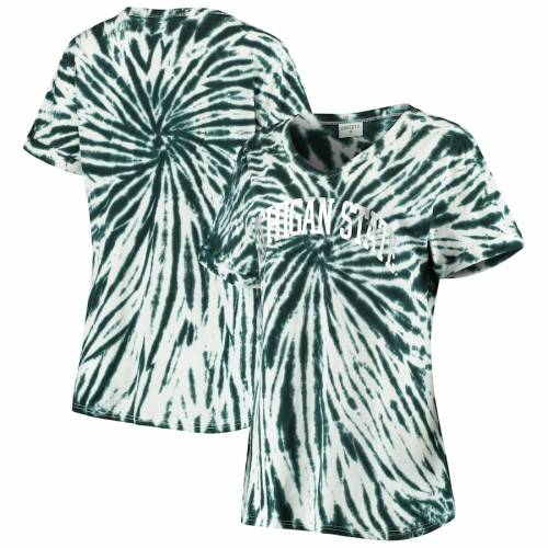 ZOOZATZ ミシガン スケートボード レディース ブイネック Tシャツ 緑 グリーン レディースファッション トップス カットソー 【 Michigan State Spartans Womens Tie Dye Soft V-neck T-shirt - Green 】 Green