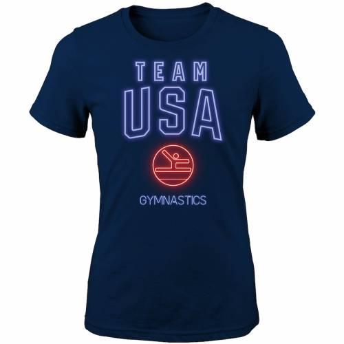 OUTERSTUFF チーム レディース Tシャツ 紺 ネイビー レディースファッション トップス カットソー 【 Team Usa Womens Neon Sportsmen Gymnastics T-shirt - Navy 】 Navy