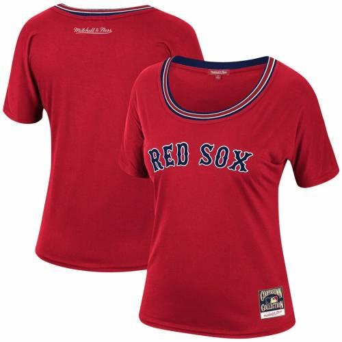 ミッチェル&ネス MITCHELL & NESS ボストン 赤 レッド レディース Tシャツ レディースファッション トップス カットソー 【 Boston Red Sox Mitchell And Ness Womens Slouchy T-shirt - Red 】 Red