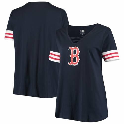 ニューエラ NEW ERA ボストン 赤 レッド レディース ジャージ ブイネック Tシャツ 紺 ネイビー レディースファッション トップス カットソー 【 Boston Red Sox Womens Plus Size Stripes Baby Jersey V-nec