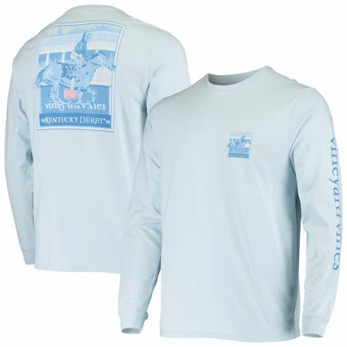 VINEYARD VINES ケンタッキー スリーブ Tシャツ 青 ブルー メンズファッション トップス カットソー メンズ 【 Kentucky Derby 146 Finish Line Long Sleeve T-shirt - Light Blue 】 Light Blue