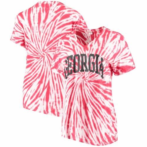 ZOOZATZ レディース ブイネック Tシャツ 赤 レッド レディースファッション トップス カットソー 【 Georgia Bulldogs Womens Tie Dye Soft V-neck T-shirt - Red 】 Red
