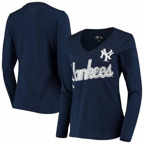 G-III 4HER BY CARL BANKS ヤンキース レディース ゲーム スリーブ ブイネック Tシャツ 紺 ネイビー レディースファッション トップス カットソー 【 New York Yankees Womens Perfect Game Long Sleeve V-neck T