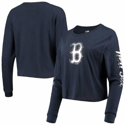 ニューエラ NEW ERA ボストン 赤 レッド レディース ジャージ スリーブ Tシャツ 紺 ネイビー レディースファッション トップス カットソー 【 Boston Red Sox Womens Baby Jersey Long Sleeve Cropped T-shir
