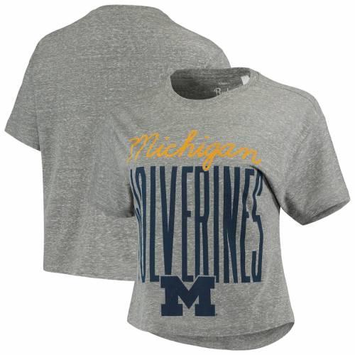 PRESSBOX ミシガン レディース クロップ Tシャツ 灰色 グレー グレイ レディースファッション トップス カットソー 【 Michigan Wolverines Womens Sanibel Knobi Crop T-shirt - Heathered Gray 】 Heathered Gray