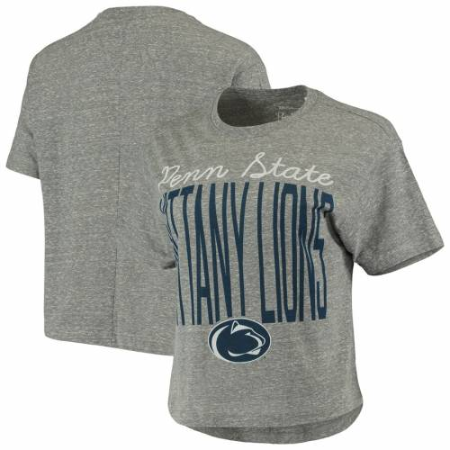 PRESSBOX スケートボード ライオンズ レディース クロップ Tシャツ 灰色 グレー グレイ レディースファッション トップス カットソー 【 Penn State Nittany Lions Womens Sanibel Knobi Crop T-shirt - Heathe