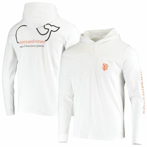 VINEYARD VINES ジャイアンツ スリーブ Tシャツ 白 ホワイト メンズファッション トップス カットソー メンズ 【 San Francisco Giants Hooded Long Sleeve T-shirt - White 】 White