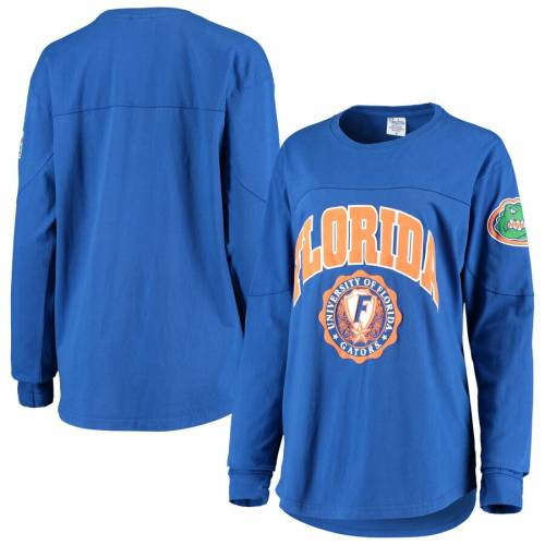 PRESSBOX フロリダ レディース スリーブ Tシャツ レディースファッション トップス カットソー 【 Florida Gators Womens Gator Head Edith Long Sleeve T-shirt - Royal 】 Royal