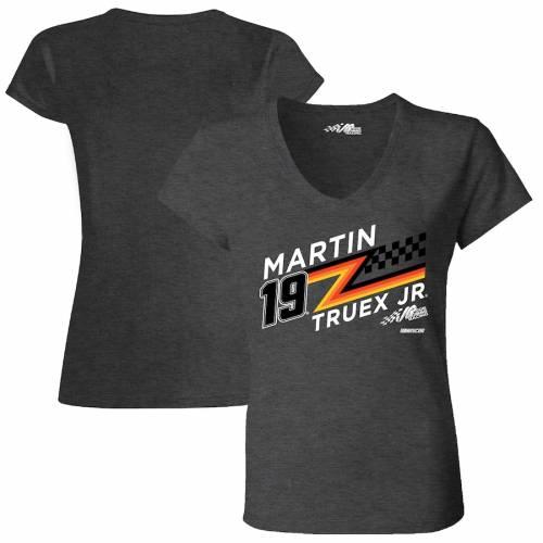 JOE GIBBS RACING TEAM COLLECTION レディース ブイネック Tシャツ チャコール レディースファッション トップス カットソー 【 Martin Truex Jr Womens Kinetic V-neck T-shirt - Charcoal 】 Charcoal