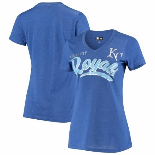 G-III 4HER BY CARL BANKS カンザス シティ ロイヤルズ レディース ブイネック Tシャツ レディースファッション トップス カットソー 【 Kansas City Royals Womens Good Day V-neck T-shirt - Heathered Royal 】 He