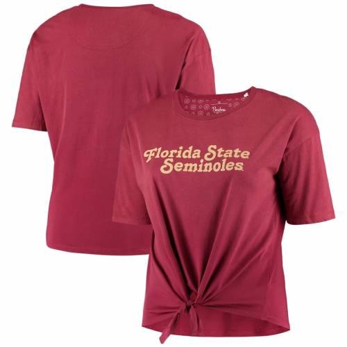 PRESSBOX フロリダ スケートボード レディース カリフォルニア Tシャツ レディースファッション トップス カットソー 【 Florida State Seminoles Womens Plus Size California Dreamin Ombre Tie T-shirt - Garnet