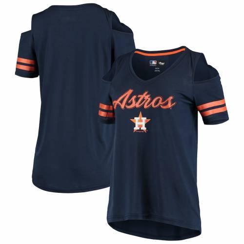 G-III 4HER BY CARL BANKS ヒューストン アストロズ レディース ブイネック Tシャツ 紺 ネイビー レディースファッション トップス カットソー 【 Houston Astros Womens Extra Inning Cold Shoulder V-neck T-shi