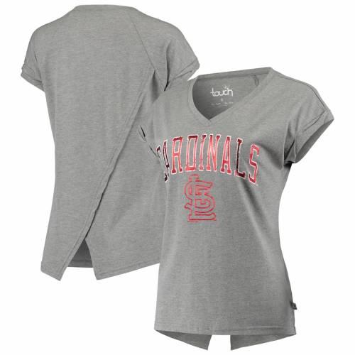 TOUCH カーディナルス レディース パワー ブイネック Tシャツ 灰色 グレー グレイ St. レディースファッション トップス カットソー 【 St. Louis Cardinals Womens Power Play V-neck T-shirt - Gray 】 Gray