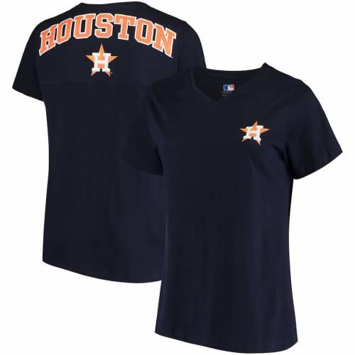 PROFILE ヒューストン アストロズ レディース ブイネック Tシャツ 紺 ネイビー レディースファッション トップス カットソー 【 Houston Astros Womens Plus Size Spirit V-neck T-shirt - Navy 】 Navy