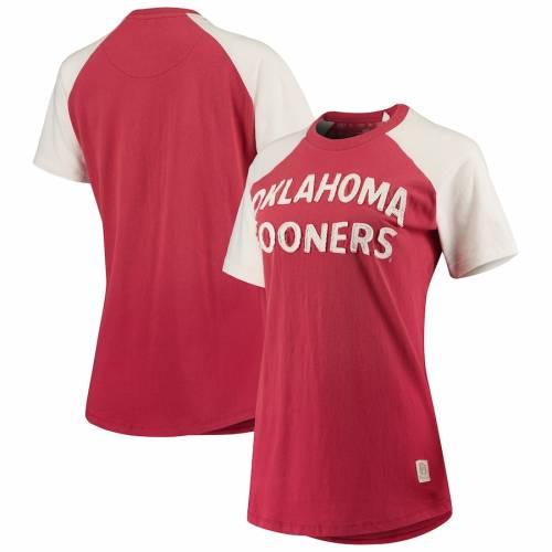 PRESSBOX レディース ラグラン Tシャツ レディースファッション トップス カットソー 【 Oklahoma Sooners Womens Bayonne Applique Ombre Raglan T-shirt - Crimson 】 Crimson
