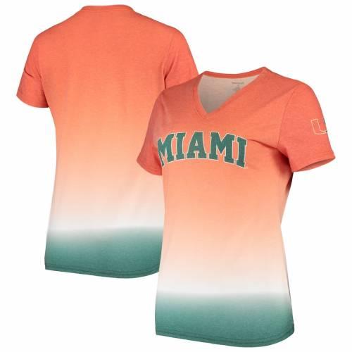 BOXERCRAFT マイアミ レディース ブイネック Tシャツ 橙 オレンジ レディースファッション トップス カットソー 【 Miami Hurricanes Womens Ombre V-neck T-shirt - Orange 】 Orange