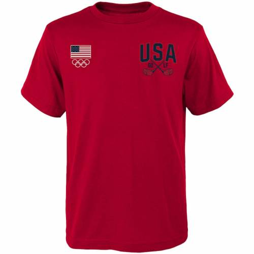 気質アップ アウタースタッフ OUTERSTUFF ゴルフ Tシャツ 赤 レッド 【 GOLF RED OUTERSTUFF USA CROSS CLUBS TSHIRT 】 メンズファッション トップス Tシャツ カットソー, エスピーアイ 40e31f18