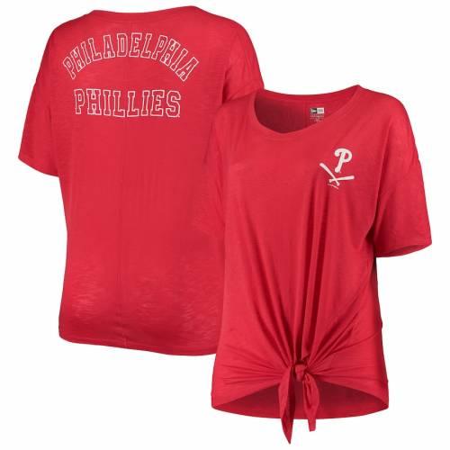 ニューエラ NEW ERA フィラデルフィア フィリーズ レディース Tシャツ 赤 レッド レディースファッション トップス カットソー 【 Philadelphia Phillies Womens Plus Size Tie T-shirt - Red 】 Red