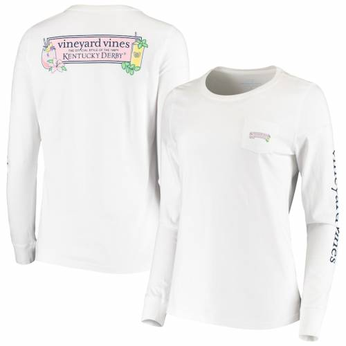 VINEYARD VINES ケンタッキー レディース スリーブ Tシャツ 白 ホワイト レディースファッション トップス カットソー 【 Kentucky Derby 146 Womens Julep And Lily Long Sleeve T-shirt - White 】 White