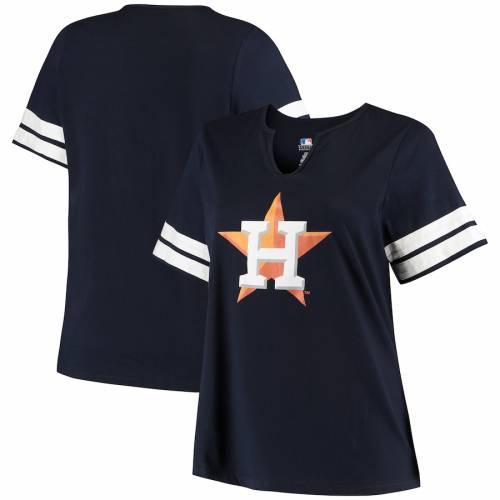 PROFILE ヒューストン アストロズ レディース Tシャツ レディースファッション トップス カットソー 【 Houston Astros Womens Plus Size V-notch T-shirt - Navy/white 】 Navy/white