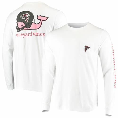 VINEYARD VINES アトランタ ファルコンズ ヘルメット スリーブ Tシャツ 白 ホワイト メンズファッション トップス カットソー メンズ 【 Atlanta Falcons Whale Helmet Long Sleeve T-shirt - White 】 White