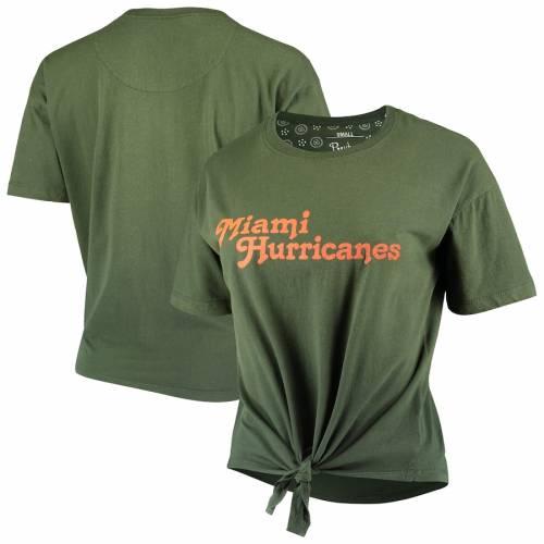 PRESSBOX マイアミ レディース カリフォルニア Tシャツ 緑 グリーン レディースファッション トップス カットソー 【 Miami Hurricanes Womens California Dreamin Ombre Tie T-shirt - Green 】 Green