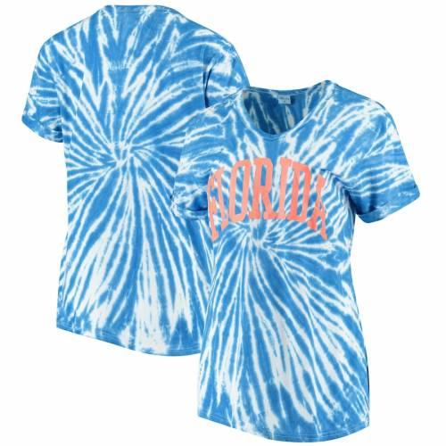 ZOOZATZ フロリダ レディース ブイネック Tシャツ レディースファッション トップス カットソー 【 Florida Gators Womens Tie Dye Soft V-neck T-shirt - Royal 】 Royal