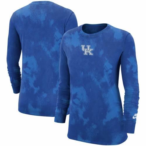 ナイキ NIKE ケンタッキー レディース スリーブ Tシャツ レディースファッション トップス カットソー 【 Kentucky Wildcats Womens Subtle Tie Dye Washed Long Sleeve T-shirt - Royal 】 Royal
