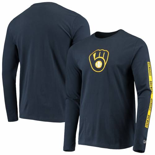 ニューエラ NEW ERA ミルウォーキー ブルワーズ スリーブ Tシャツ 紺 ネイビー メンズファッション トップス カットソー メンズ 【 Milwaukee Brewers Long Sleeve T-shirt - Navy 】 Navy