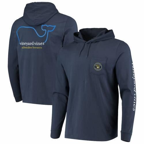 VINEYARD VINES ミルウォーキー ブルワーズ スリーブ Tシャツ 紺 ネイビー メンズファッション トップス カットソー メンズ 【 Milwaukee Brewers Hooded Long Sleeve T-shirt - Navy 】 Navy