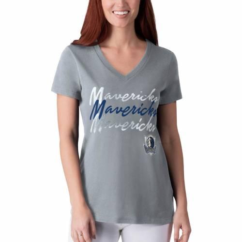 G-III 4HER BY CARL BANKS ダラス マーベリックス レディース パワー Tシャツ 灰色 グレー グレイ レディースファッション トップス カットソー 【 Dallas Mavericks Womens Power Forward Foil T-shirt - Gray