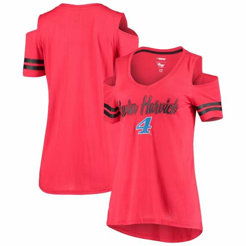 G-III 4HER BY CARL BANKS ケビン レディース Tシャツ 赤 レッド レディースファッション トップス カットソー 【 Kevin Harvick Womens Extra Inning Cold Shoulder T-shirt - Red 】 Red