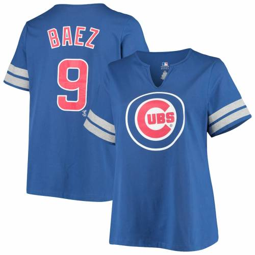 PROFILE シカゴ カブス レディース Tシャツ レディースファッション トップス カットソー 【 Javier Baez Chicago Cubs Womens Plus Size Notch Neck Name And Number T-shirt - Royal 】 Royal