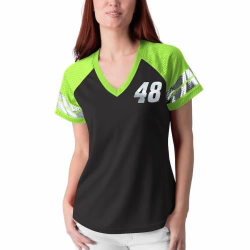 G-III 4HER BY CARL BANKS ジョンソン レディース フランチャイズ ラグラン ブイネック Tシャツ レディースファッション トップス カットソー 【 Jimmie Johnson Womens Franchise Raglan V-neck T-shirt - Black/