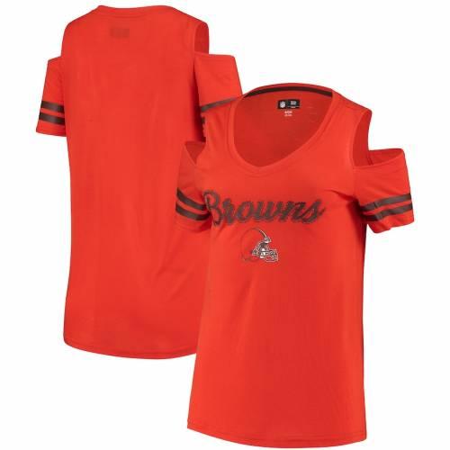 G-III 4HER BY CARL BANKS クリーブランド ブラウンズ レディース ブイネック Tシャツ 橙 オレンジ レディースファッション トップス カットソー 【 Cleveland Browns Womens Cold Shoulder V-neck T-shirt - Ora